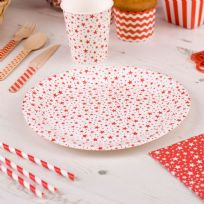 Carnival Red Paper Plates - Stars (8)